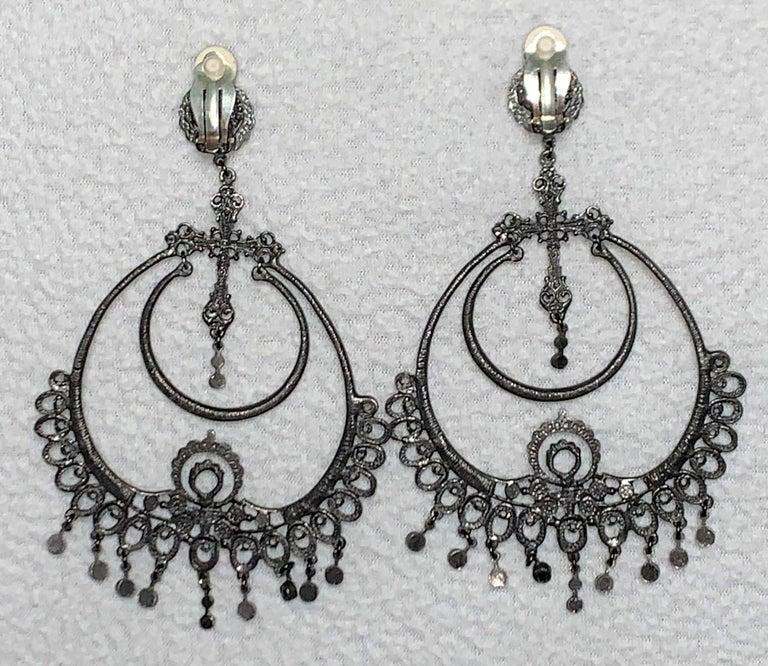 S/S 1999 Christian Dior John Galliano Runway Huge Hoop Earrings w Crosses For Sale 1