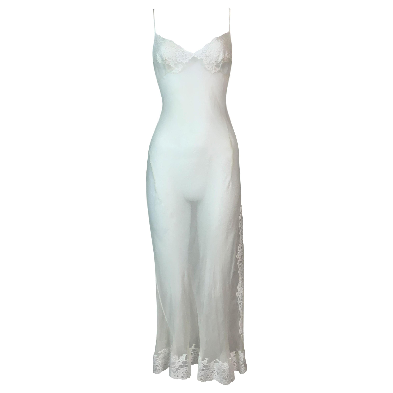 S/S 1999 Christian Dior John Galliano Sheer Ivory Silk & Lace Slip Dress