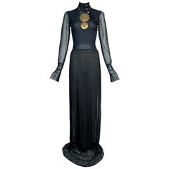 S/S 1999 Christian Dior Runway Chinoiserie Blue & Gold Sheer Knit Maxi Dress