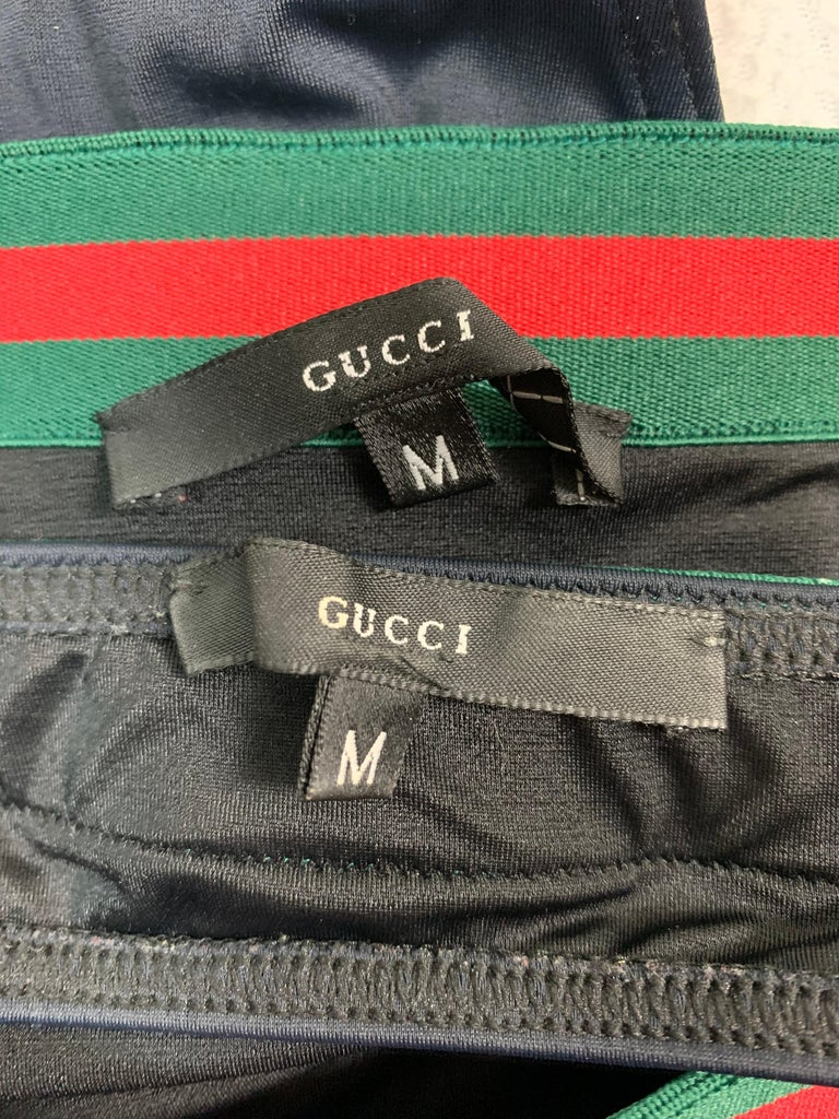 S/S 1999 Gucci Tom Ford Black Green Red Striped Strapless High Waist Bikini In Good Condition For Sale In Yukon, OK
