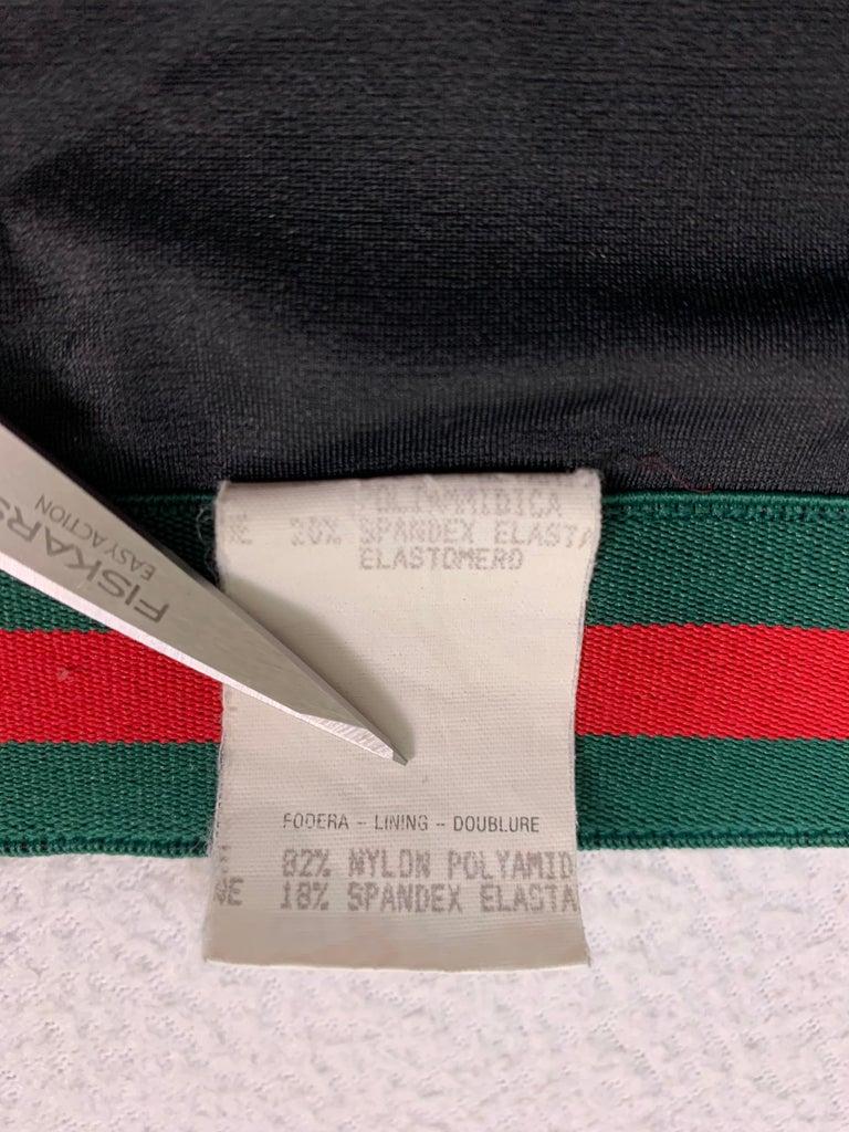 S/S 1999 Gucci Tom Ford Black Green Red Striped Strapless High Waist Bikini For Sale 1