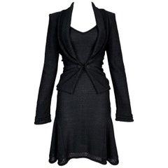 S/S 1999 John Galliano Black Knit Skater Mini Dress & Jacket Set