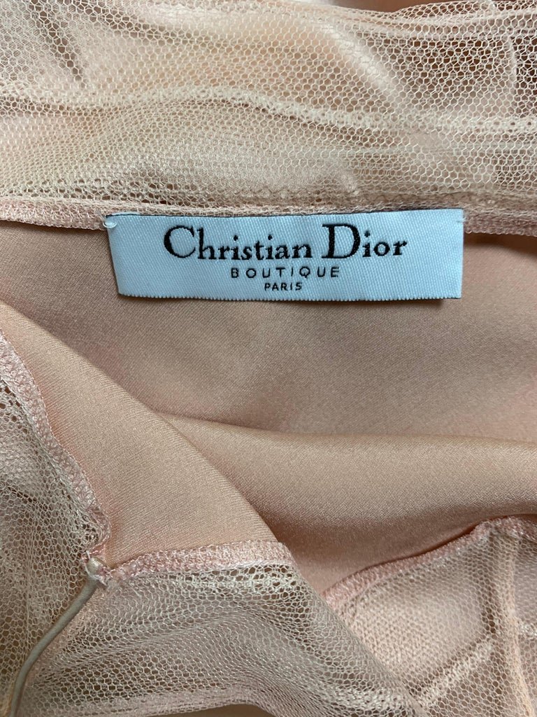 S/S 2000 Christian Dior by John Galliano Pink Silk Satin Mesh Trim Gown Dress In Good Condition For Sale In Yukon, OK