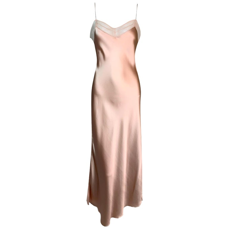 S/S 2000 Christian Dior by John Galliano Pink Silk Satin Mesh Trim Gown Dress For Sale