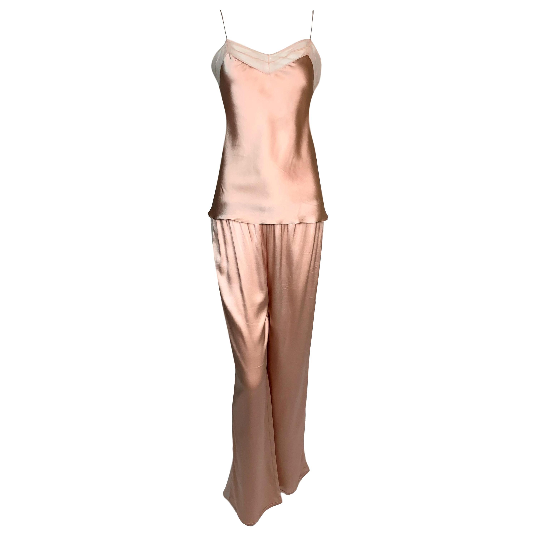 2000's Christian Dior John Galliano Pink Silk Sheer Mesh Pants Top Set