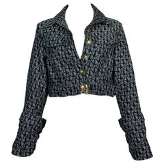 S/S 2000 Christian Dior John Galliano Runway Blue Denim Logo Cropped Jacket