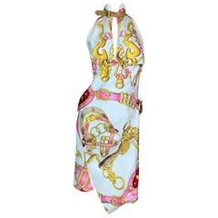 S/S 2000 Christian Dior John Galliano Runway Pink Gold Chain Print Silk Dress