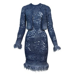 S/S 2000 Christian Dior John Galliano Runway Sheer Blue Knit Dress & Jacket