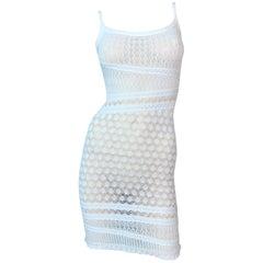 S/S 2000 Christian Dior John Galliano Sheer Ivory Knit Bodycon Mini Dress