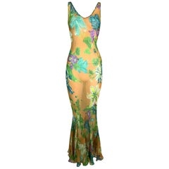 S/S 2000 Dolce & Gabbana Sheer Yellow Floral Silk Long Mermaid Dress