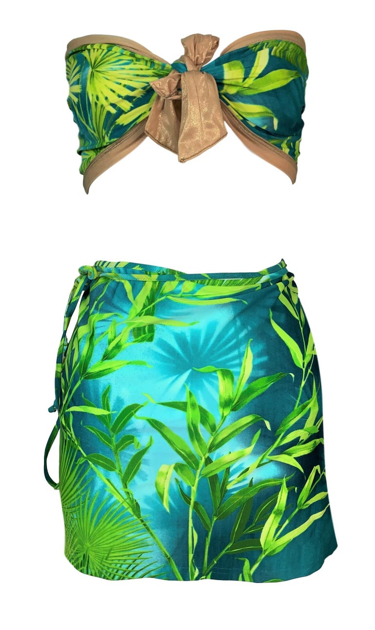 Green S/S 2000 Gianni Versace Famous Tropical Palm Print Strapless Ultra Low Bikini Sw For Sale