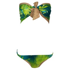 S/S 2000 Gianni Versace Famous Tropical Palm Print Strapless Ultra Low Bikini Sw