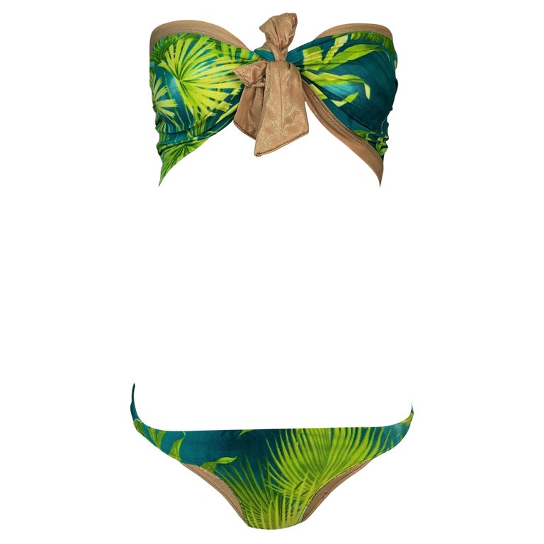 S/S 2000 Gianni Versace Famous Tropical Palm Print Strapless Ultra Low Bikini Sw For Sale