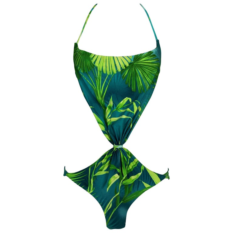 S/S 2000 Gianni Versace Rumway Famous Tropical Palm Print Monokini Swimsuit For Sale