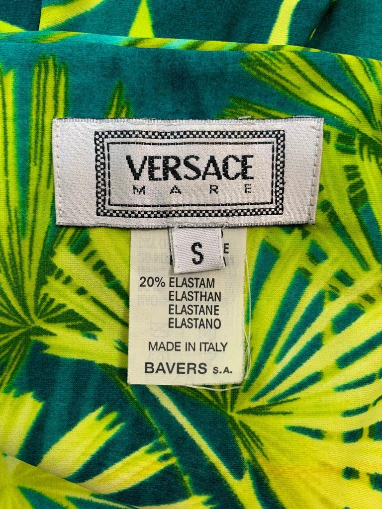 Blue S/S 2000 Gianni Versace Runway Famous Tropical Palm Print Ultra Low Bikini For Sale