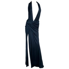 S/S 2000 Gianni Versace Runway Plunging Black High Slit Gown Maxi Dress