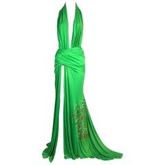 S/S 2000 Gianni Versace Runway Plunging Green High Slit Maxi Dress