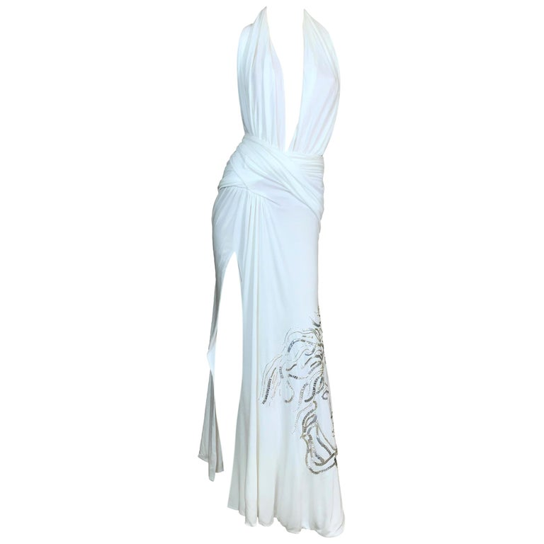 S/S 2000 Gianni Versace Runway White Plunging High Slits Beaded Gold Medusa Gown For Sale