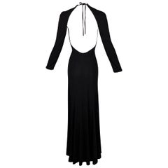 S/S 2000 Gucci by Tom Ford Backless Classic Black L/S Dress