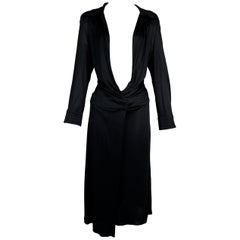 S/S 2000 Gucci Tom Ford Runway Plunging Open Chest Black L/S Dress