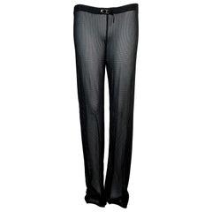 S/S 2000 Gucci Tom Ford Runway Sheer Black Jersey Mesh Pants M