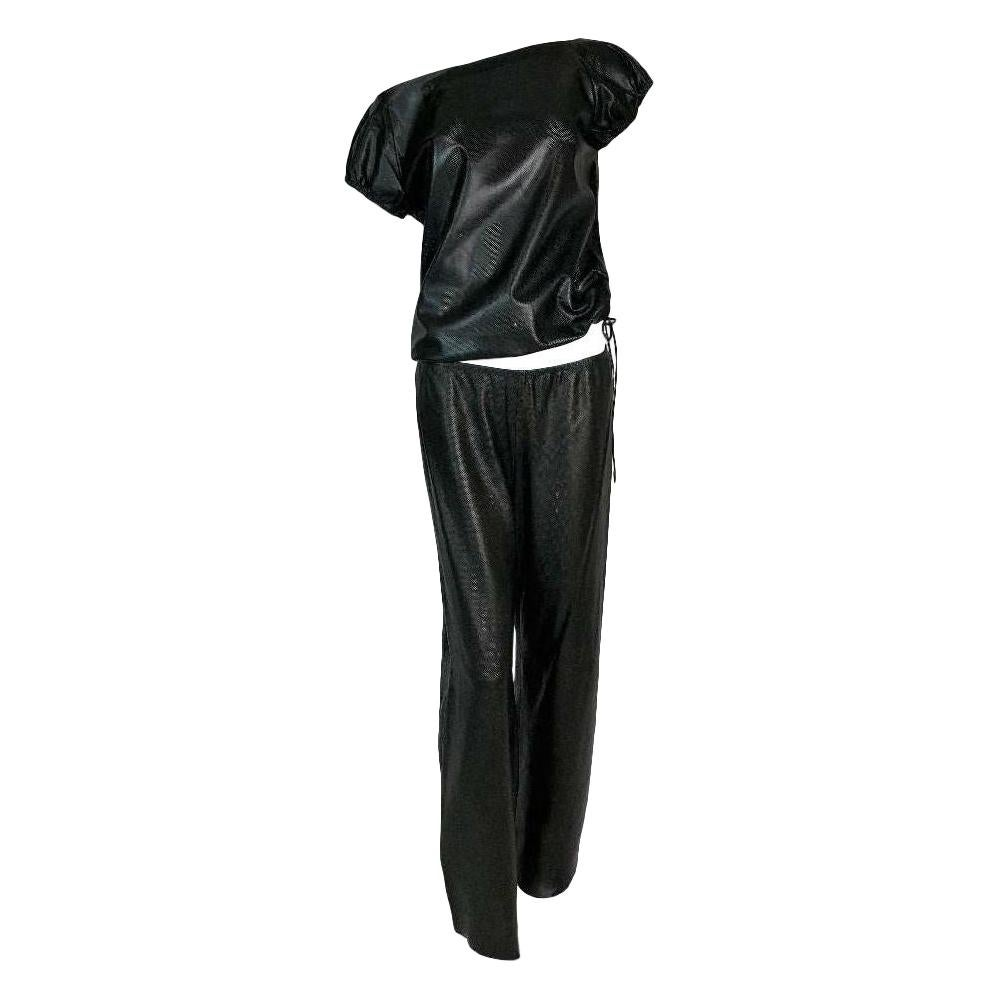 S/S 2000 Gucci Tom Ford Sheer Black Mesh Leather Baggy Top & Pants Set