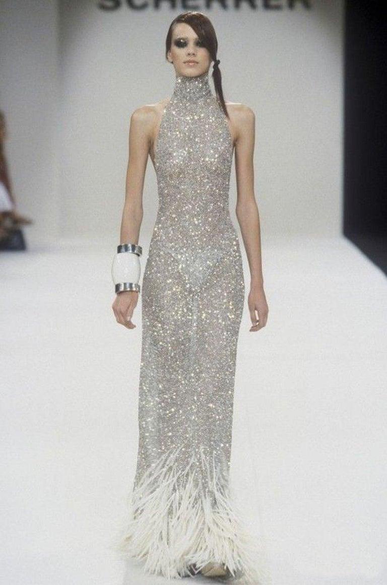 S/S 2000 Jean Louis Scherrer Haute Couture Look 16 Sequin Silver Mesh Dress For Sale 8