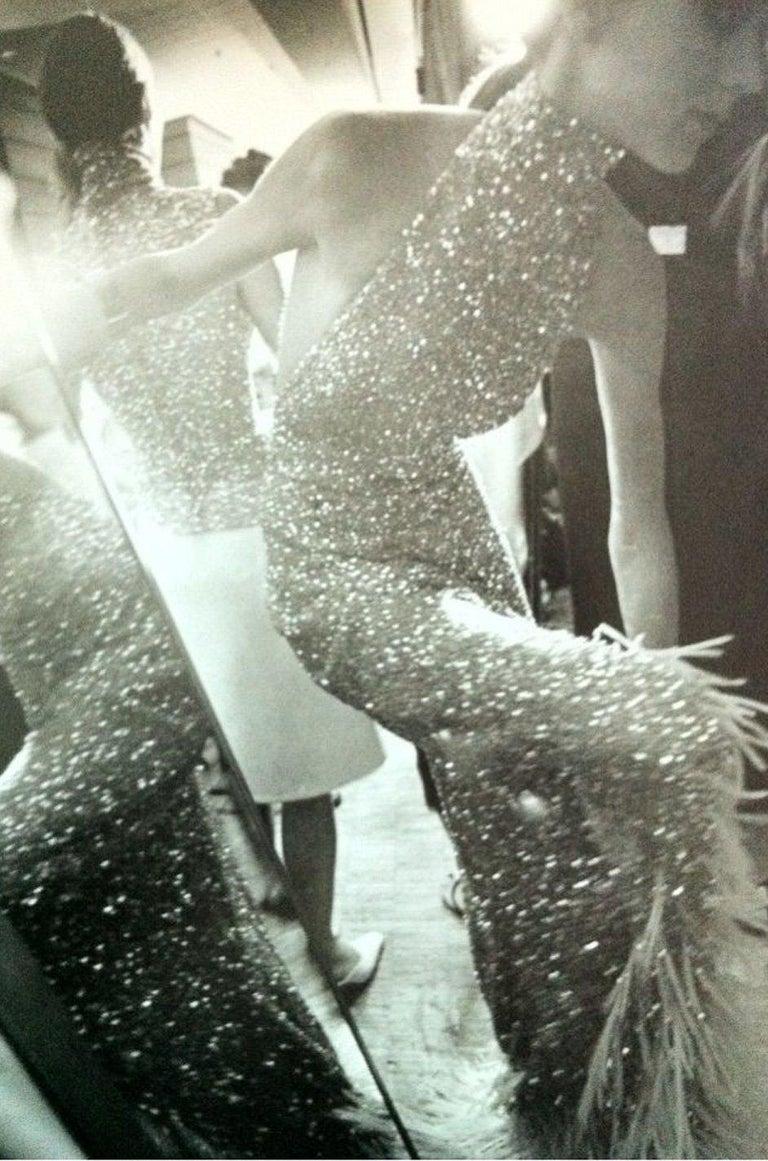 S/S 2000 Jean Louis Scherrer Haute Couture Look 16 Sequin Silver Mesh Dress For Sale 9