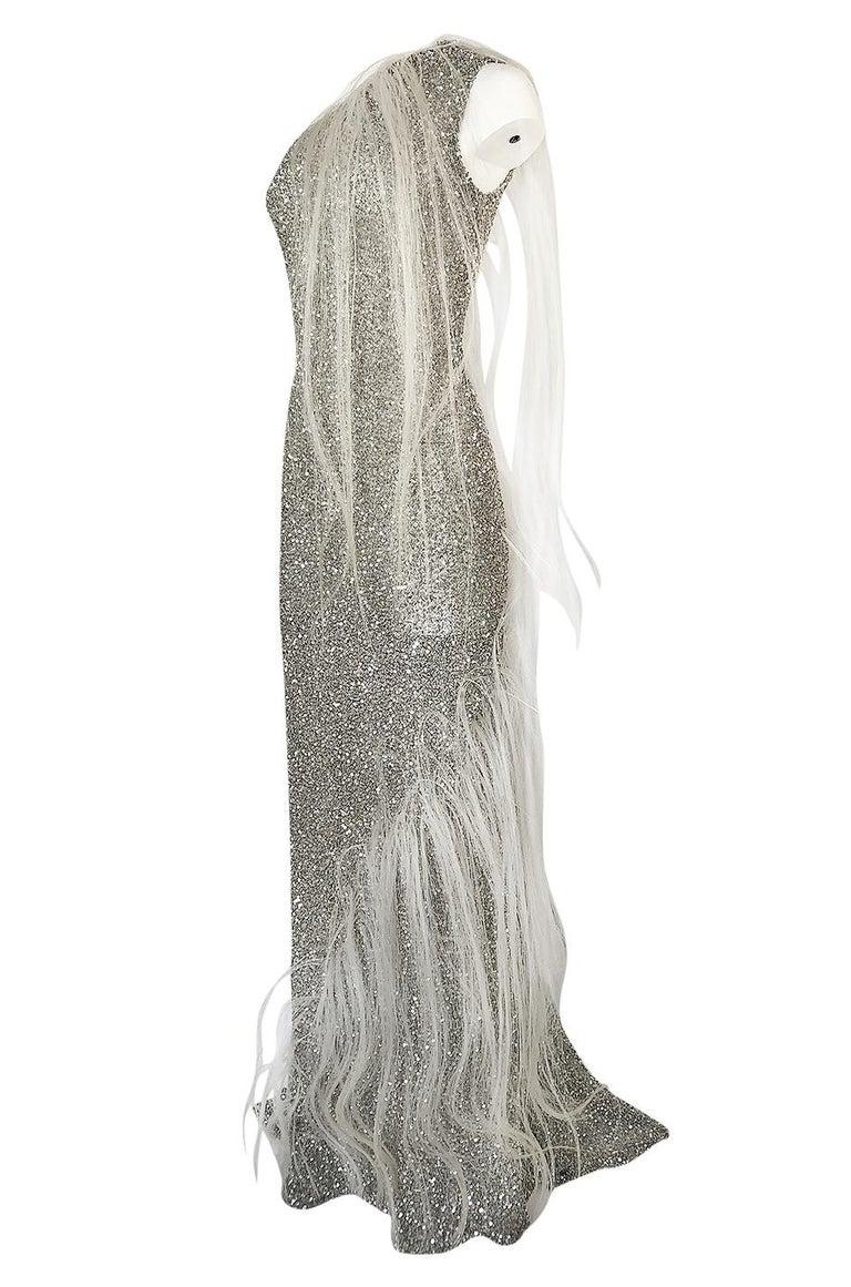 Women's S/S 2000 Jean Louis Scherrer Haute Couture Look 16 Sequin Silver Mesh Dress For Sale