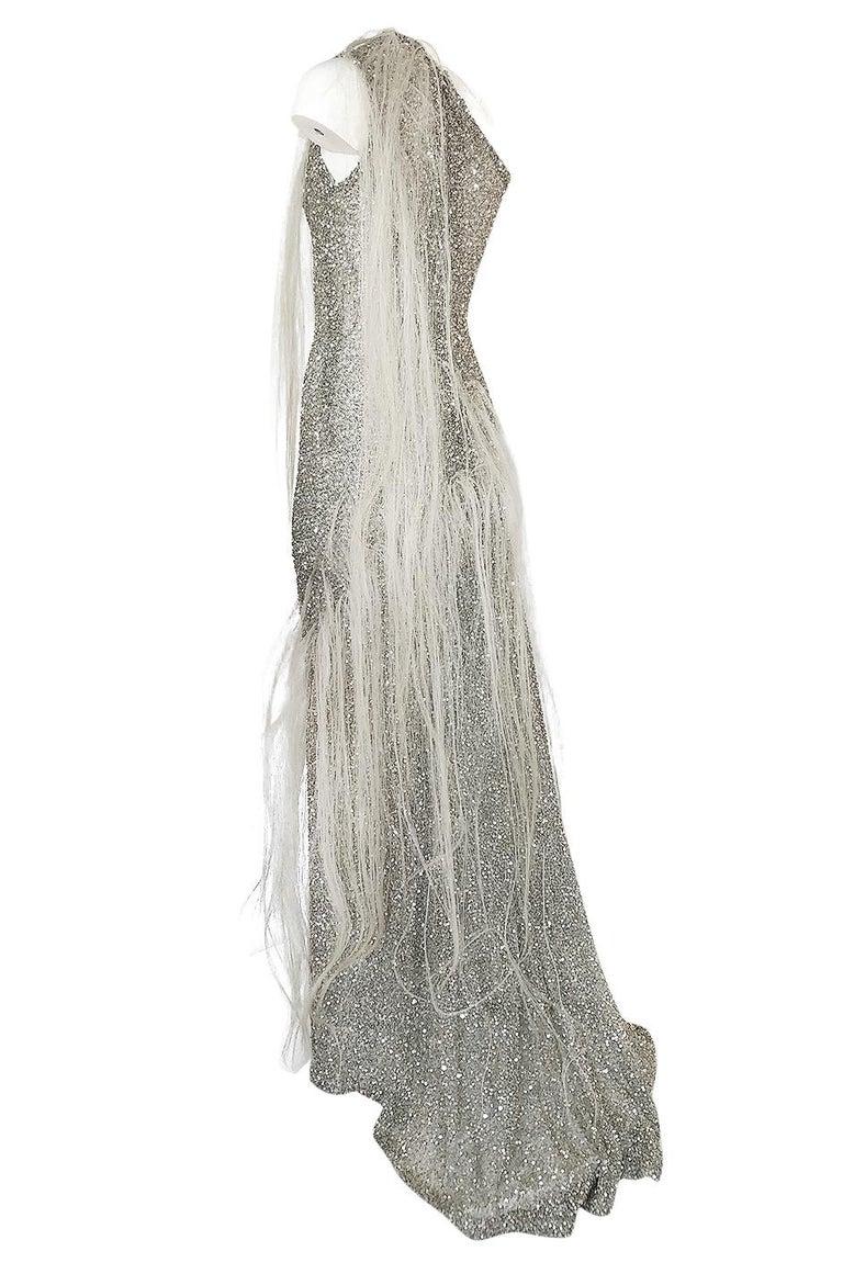 S/S 2000 Jean Louis Scherrer Haute Couture Look 16 Sequin Silver Mesh Dress For Sale 1