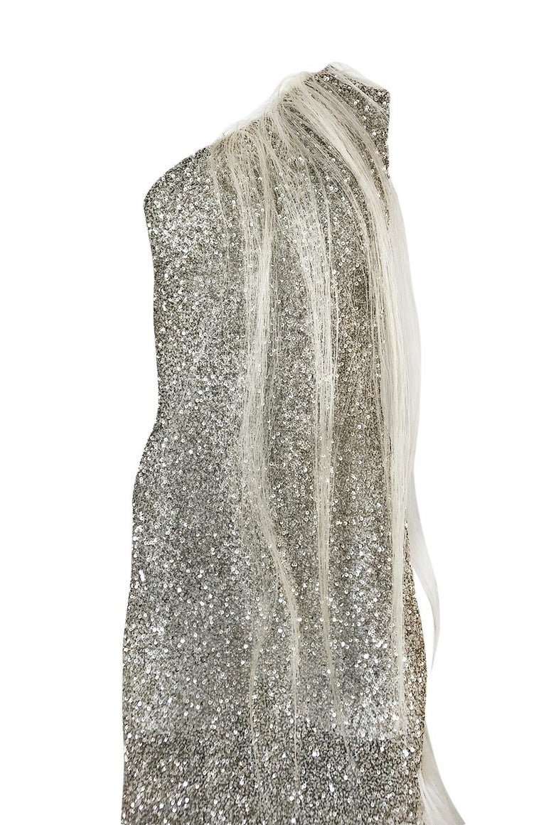 S/S 2000 Jean Louis Scherrer Haute Couture Look 16 Sequin Silver Mesh Dress For Sale 2
