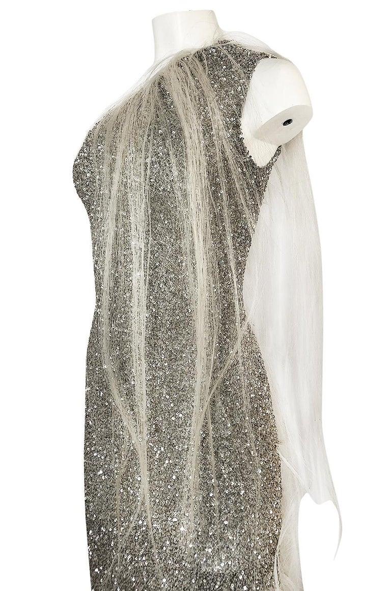 S/S 2000 Jean Louis Scherrer Haute Couture Look 16 Sequin Silver Mesh Dress For Sale 3