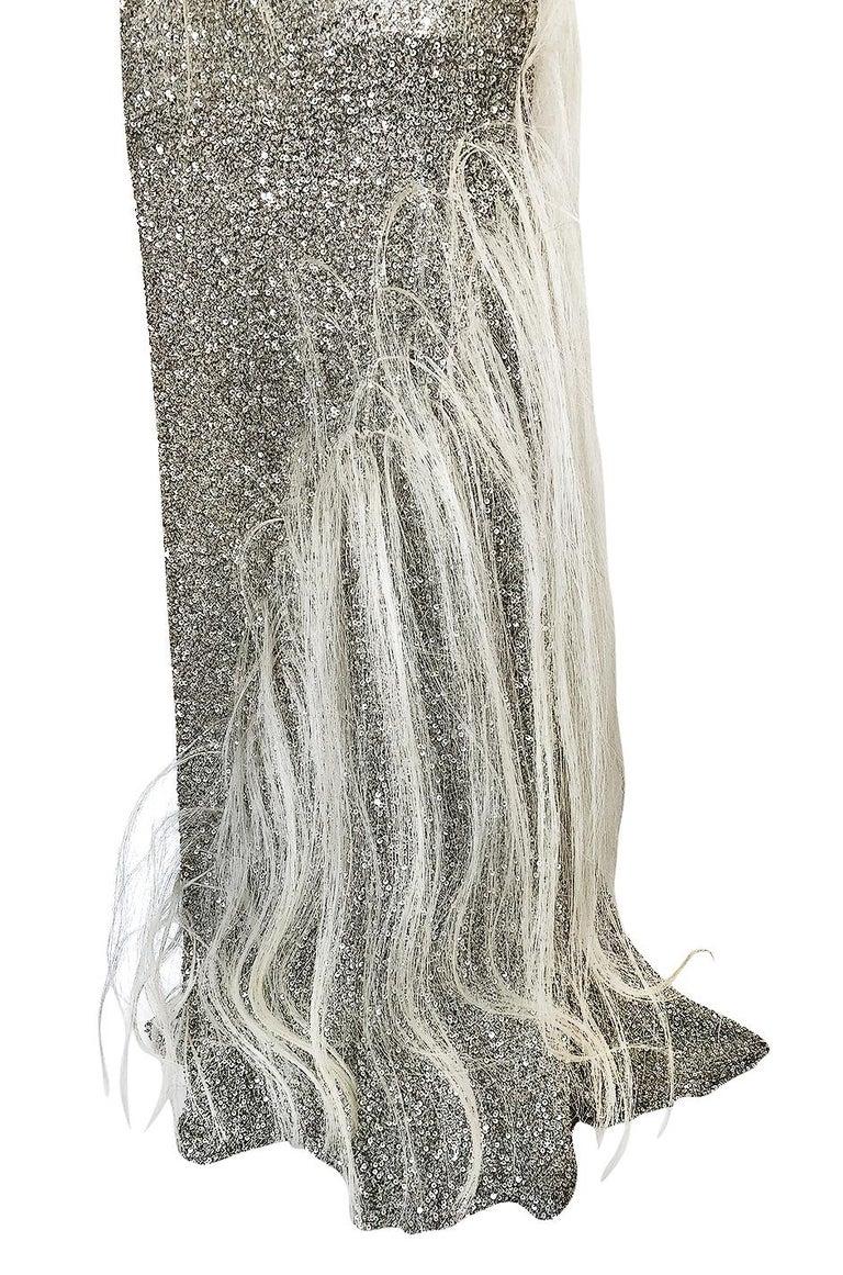 S/S 2000 Jean Louis Scherrer Haute Couture Look 16 Sequin Silver Mesh Dress For Sale 4