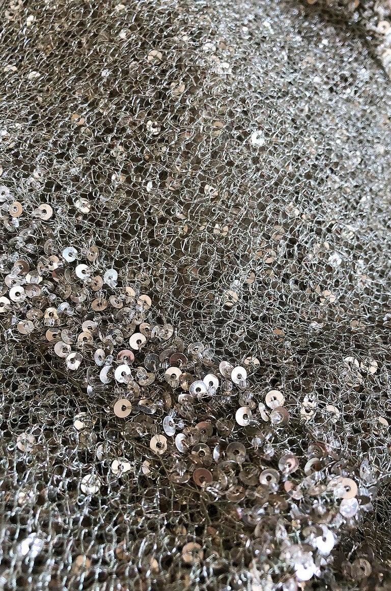 S/S 2000 Jean Louis Scherrer Haute Couture Look 16 Sequin Silver Mesh Dress For Sale 5