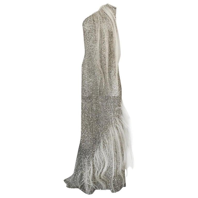 S/S 2000 Jean Louis Scherrer Haute Couture Look 16 Sequin Silver Mesh Dress For Sale