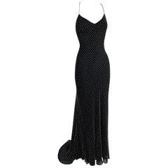 S/S 2000 Ralph Lauren Collection Runway Black Silk Pearl Beaded Gown Dress