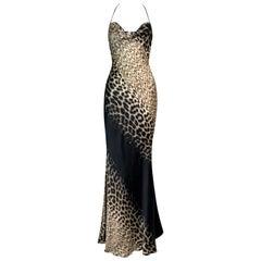 F/W 2000 Roberto Cavalli Runway Leopard Silk Halter Gown Dress