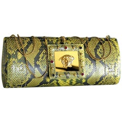 S/S 2000 Vintage Gianni Versace Embellished Python Clutch