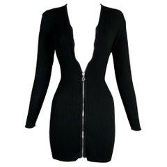 S/S 2001 Christian Dior by John Galliano Black L/S Zipper Mini Dress