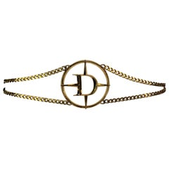 S/S 2001 Christian Dior by John Galliano Large Gold Logo Mercedes Chain Belt
