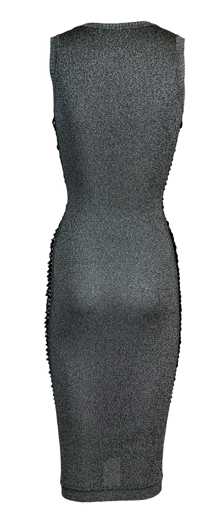 S/S 2001 Christian Dior John Galliano Gray Slashed Sides Bodycon Dress In Good Condition For Sale In Yukon, OK