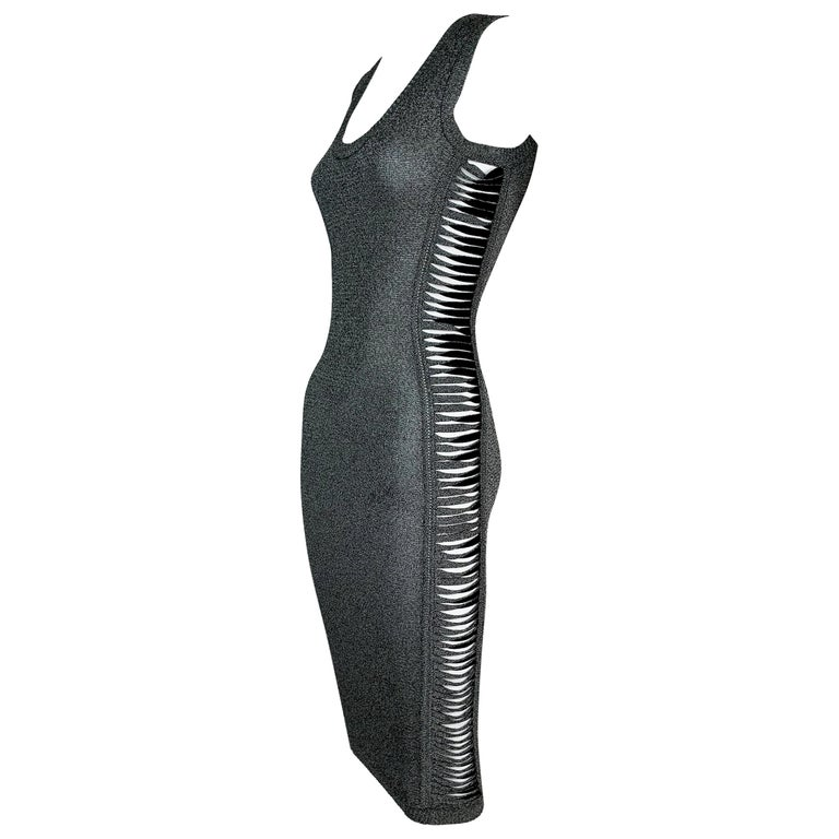 S/S 2001 Christian Dior John Galliano Gray Slashed Sides Bodycon Dress For Sale