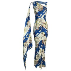 S/S 2001 Christian Dior John Galliano Japanese Arrow Satin Gown Dress
