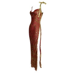 S/S 2001 Christian Dior John Galliano Red & Gold Zipper High Slit Gown Dress