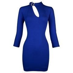 S/S 2001 Dolce & Gabbana Royal Blue Cut-Out Bodycon Mini Dress