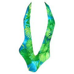 S/S 2000 Gianni Versace Famed Palm Tree Print Plunging Swimsuit Bodysuit
