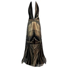 S/S 2001 Gianni Versace Runway Documented Plunging Brown Lace Gown Dress