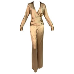 S/S 2001 Gucci by Tom Ford Champagne Silk Satin Wrap Top Wide Leg Pants Set