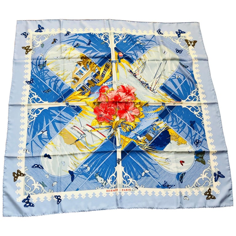 "S/S 2001 Hermes ""Varangues"" by Dimitri Rybalchenko Silk Scarf 36x36 w/box For Sale"