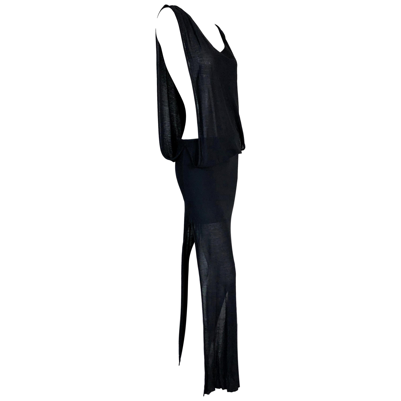 S/S 2001 Jean Paul Gaultier Runway Black Cut-Out Sides High Slits Long Dress